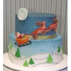 """Торт """"Санта Клаус на оленях"""""""