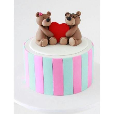"""Торт на 14 февраля  """"Влюбленные мишки"""""""