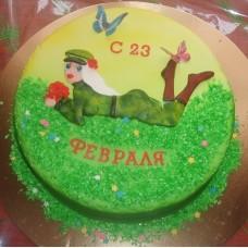 """Торт на 23 февраля """"Блондинка в форме"""""""