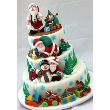 """Торт """"Дед Мороз и снеговик"""""""