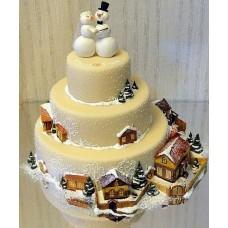 """Торт """"Снеговики на полюсе"""""""