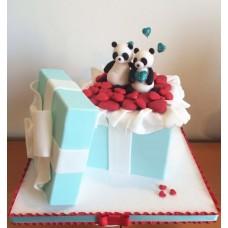 """Торт на день влюбленных """"Панды на сердечках"""""""