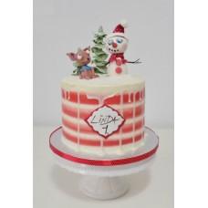 "Новогодний торт ""Чихуахуа и снеговик"""