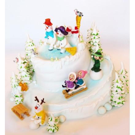 """Торт """"Веселые снеговики"""""""