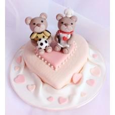 """Торт на 14 февраля """"Любящие мишки"""""""