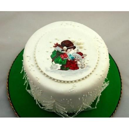 "Новогодний торт на заказ ""Снежинка"""