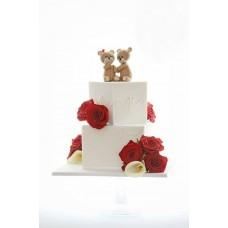 """Торт на день влюбленных """"Влюбленные мишки и розы"""""""