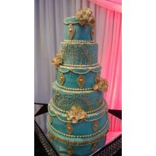 """Свадебный торт """"Бирюза и золото"""""""