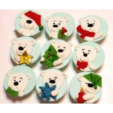 """Капкейки на новый год """"Полярные медведи"""""""