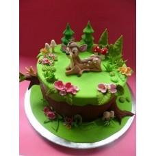 """Детский торт """"Бэмби на лесной полянке"""""""