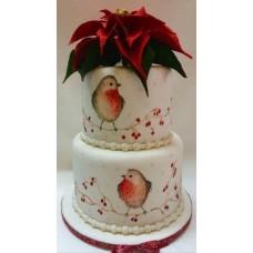 """Новогодний торт 2018 """"Снегири и красный цветок"""""""