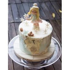 """Новогодний торт 2018 """"Белые снежинки"""""""