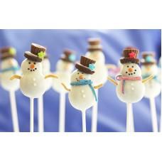 """Новогодние Cake Pops """"Модный снеговик"""""""