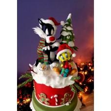 """Новогодний торт """"Твитти и Сильвестр"""""""