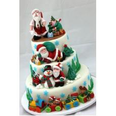 """Новогодний торт """"Дед Мороз с друзьями"""""""