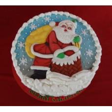 """Новогодний торт 2019 """"Дед Мороз на крыше"""""""