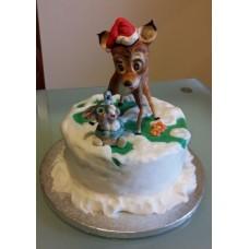 """Новогодний торт """"Бэмби в лесу"""""""