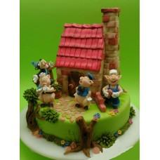 """Детский торт """"Веселые три поросенка"""""""