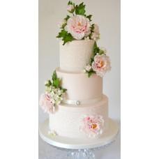 """Свадебный торт """"Розовые пионы и кружева"""""""