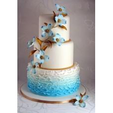 """Свадебный торт """"Волны и цветы"""""""