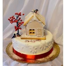 """Новогодний торт """"Пряничный домик и снегири"""""""