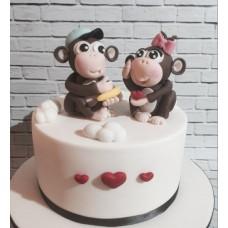 """Торт на день влюбленных """"Мартышки и любовь"""""""