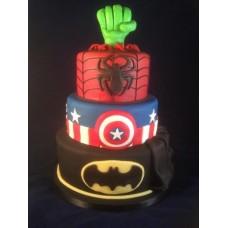 """Детский торт """"Бэтмен,Капитан Америка,Человек паук и Халк"""""""