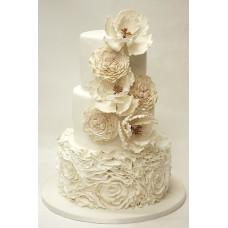 """Свадебный торт """"Кремовые цветы"""""""