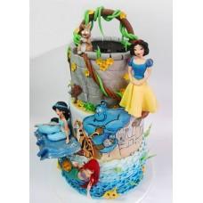 """Детский торт """"Ариэль, Белоснежка и Жасмин"""""""