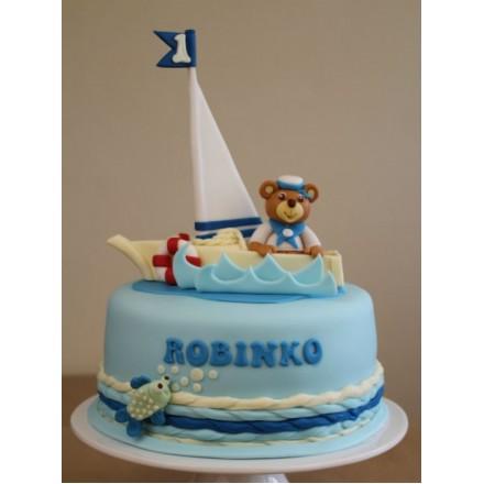 "Детский торт ""Медведь на корабле"""