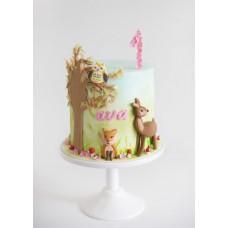 """Детский торт """"Бэмби, лиса и сова"""""""