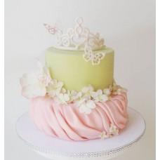 """Детский торт """"Белая диадема с бабочками"""""""