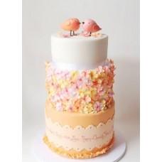 """Свадебный торт """"Влюбленные птенчики"""""""