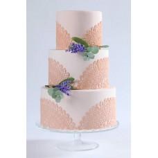 """Свадебный торт """"Тонкий вензель и лаванда"""""""
