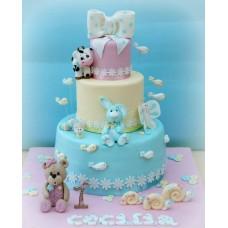 """Детский торт """"Голубой зайчик с друзьями"""""""