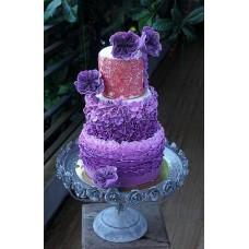 """Эксклюзивный свадебный торт """"Красивые фиолетовые цветы"""""""