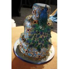 """Свадебный торт """"Райская птица на золотых вензелях"""""""