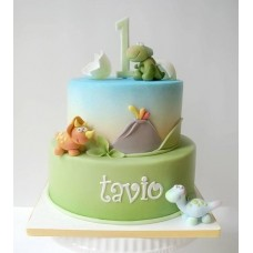 "Детский торт ""Вулкан и динозаврики"""