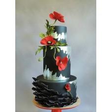 """Торт """"Красные маки на черном фоне"""""""