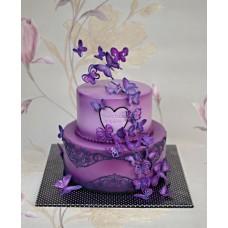 """Торт на день влюбленных """"Темно фиолетовые бабочки"""""""