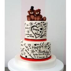 """Торт на день влюбленных """"Мишка в шляпе"""""""