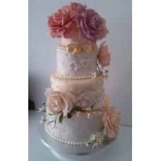 """Свадебный торт """"Розы с белыми цветочками"""""""