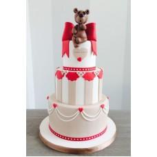 """Торт на день влюбленных """"Красный бант и мишка"""""""