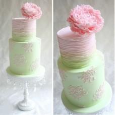 """Свадебный торт """"Салатовый с узорчиками"""""""