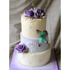 """Свадебный торт """"Фиолетовые розы с бабочками"""""""