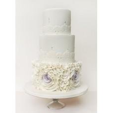 """Свадебный торт """"Белые тонкие узоры"""""""
