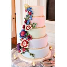 """Свадебный торт """"Каскад из ярких цветов"""""""