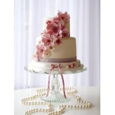 """Свадебный торт """"Волнистые розовые цветы"""""""
