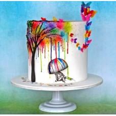 """Торт на день влюбленных """"Разноцветный дождь"""""""