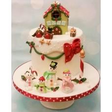"""Новогодний торт """"Композиция из снеговиков"""""""